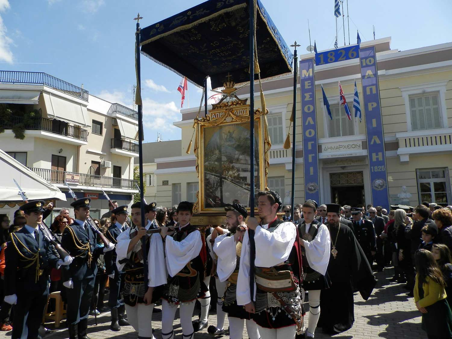 3rd day Palm Sunday : Messolonghi - Celebrations of Heroic Exodus of 10th April 1826 - Nafpaktos-departure .